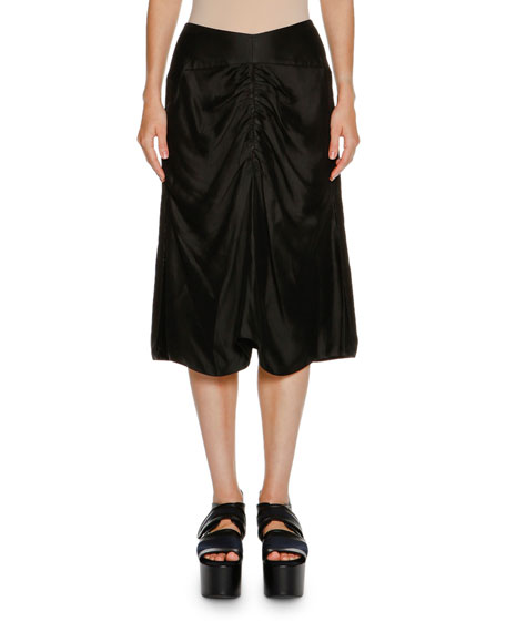 Marni Ruched-Front A-Line Skirt, Black