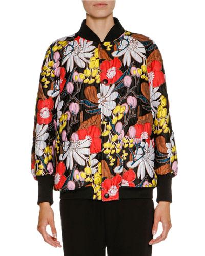 Floral-Jacquard Snap-Front Oversized Bomber Jacket, Black/Multi