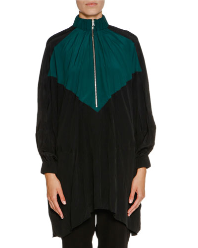Bicolor Half-Zip Oversized Jacket, Spherical Green