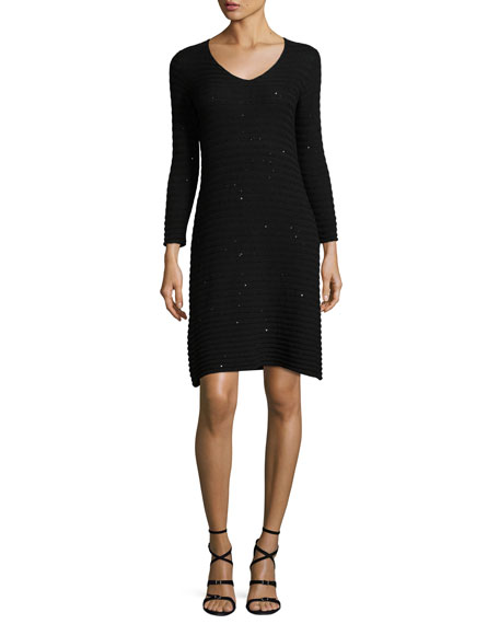 Armani Collezioni Sequined Ribbed-Knit Long-Sleeve Dress, Black