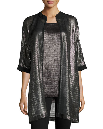Metallic Net Jersey Caban Jacket, Pewter