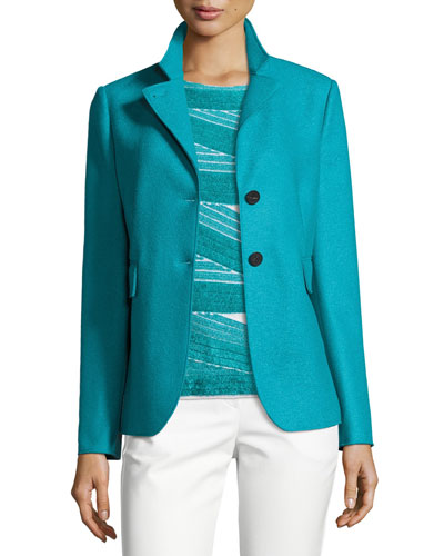 Double-Faced Wool Two-Button Jacket, Azure
