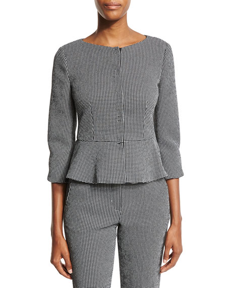 Gingham 3/4-Sleeve Peplum Jacket, Black/White
