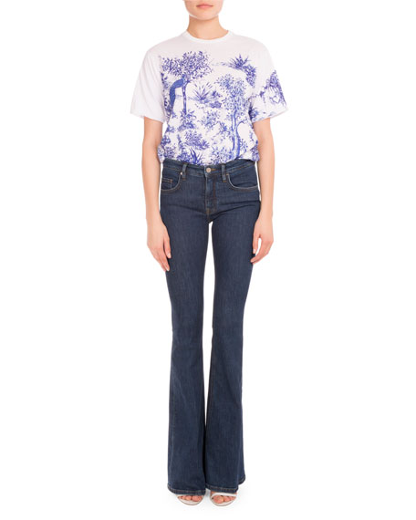 Five-Pocket Flare-Leg Jeans, Blue