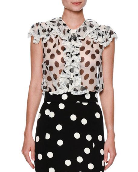 Dolce & Gabbana Ruffled Large-Dot Silk Blouse, White/Black