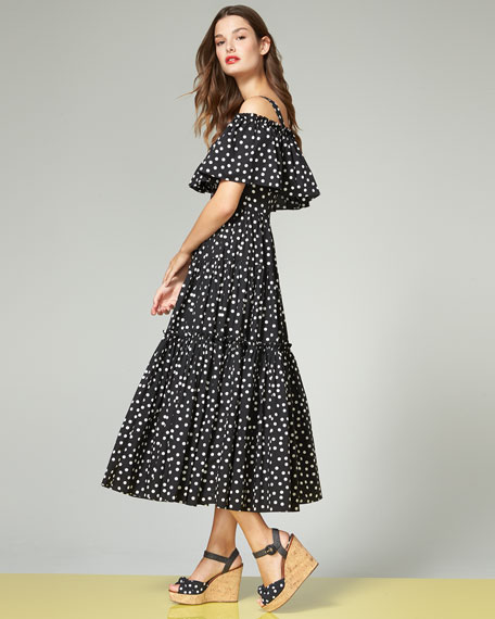 Dolce & Gabbana Off-Shoulder Ruffled Polka Dot Dress, Black/White