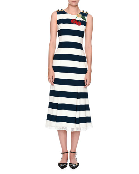Dolce & Gabbana Cherry-Embroidered Striped Dress, Navy/White