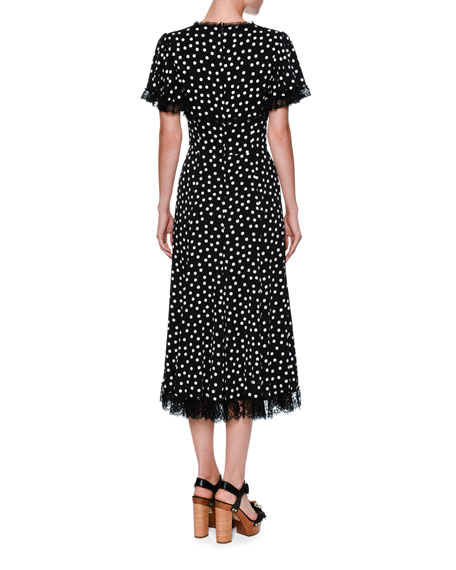 Polka-Dot Flutter-Sleeve Midi Dress, Black/White