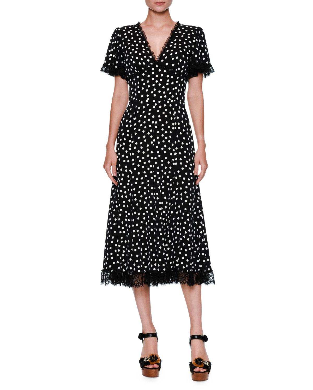 Black and white polka dot midi dress gainesville nike