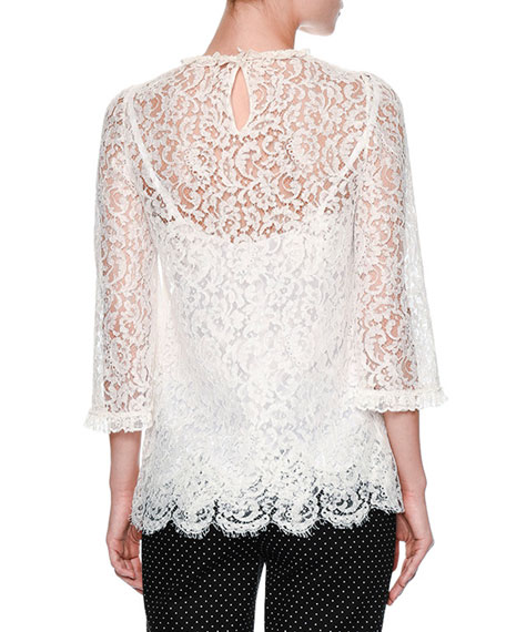 Floral-Lace 3/4-Sleeve Ruffled Blouse, White