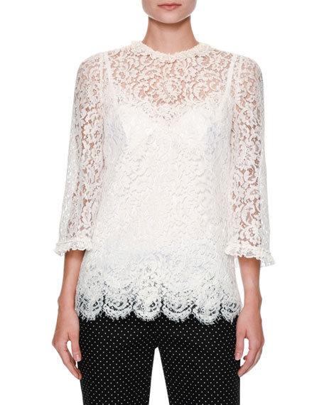 Dolce & Gabbana Floral-Lace 3/4-Sleeve Ruffled Blouse, White