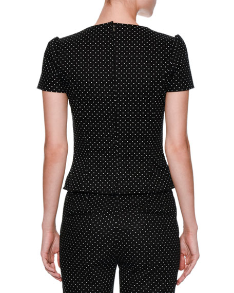 Micro-Dot Short-Sleeve Bustier Top, Black/White