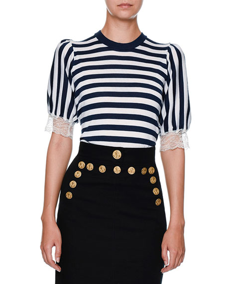 Dolce & Gabbana Striped Lace-Trim Cardigan, Navy/White