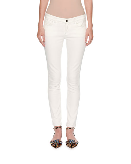 Dolce & Gabbana Pineapple-Pocket Skinny Jeans, White/Gold