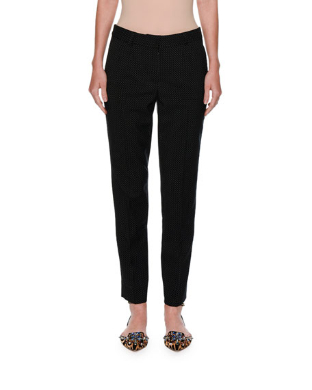 Micro-Dot Slim Ankle Pants, Black/White
