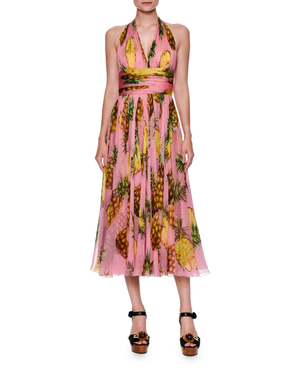 b8eba5b4 Dolce & Gabbana Pineapple-Print Halter Dress, Bright Pink/Yellow ...