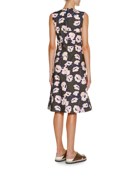 Sleeveless Whisper-Print Dress, Dark Olive
