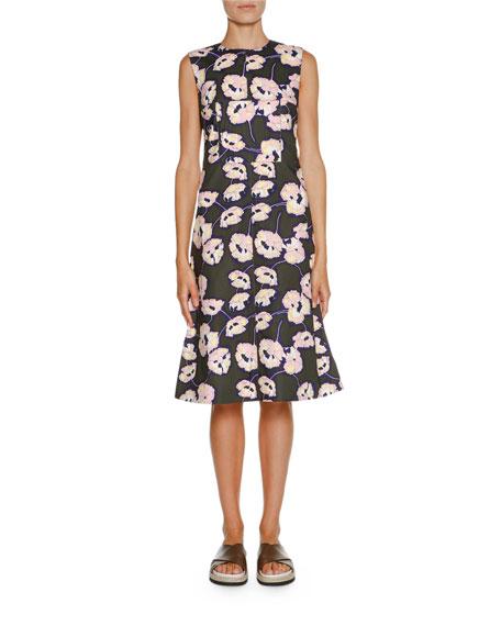 Sleeveless Whisper-Print Dress, Dark Olive