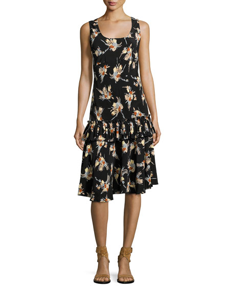 Marni Sleeveless Floral Drop-Waist Ruffle Dress, Black