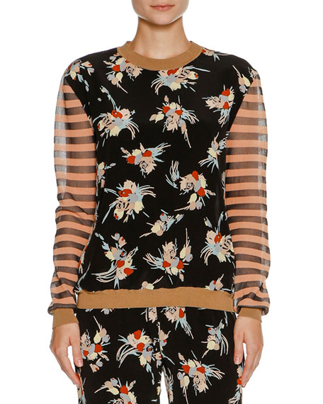 Marni Floral Striped Crewneck Sweater, Antique Rose/Black