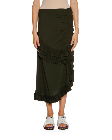 Marni Ruched Ruffled Maxi Skirt, Glass Green