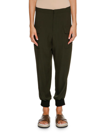 Marni Crepe Cargo Jogger Pants, Glass Green