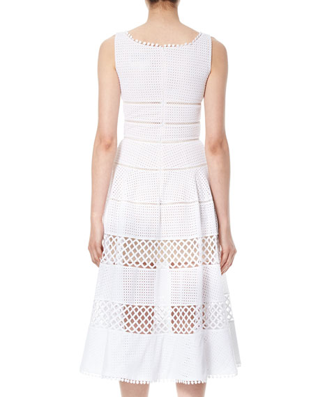Sleeveless Eyelet A-Line Midi Dress, White