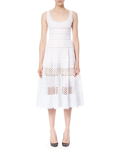 Carolina Herrera Sleeveless Eyelet A-Line Midi Dress, White