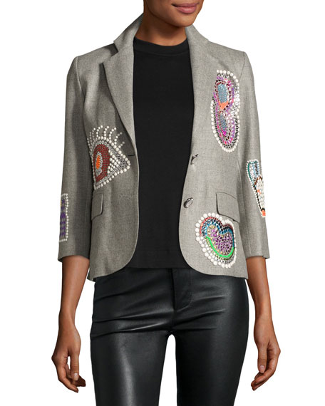 Libertine Niki Collage Beaded 3/4-Sleeve Blazer, Gray