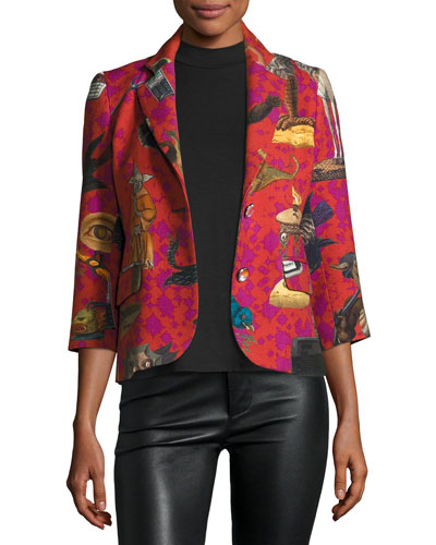 Monster-Print 3/4-Sleeve Boyfriend Blazer, Red