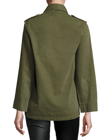 Embellished Cotton Army Jacket, Green