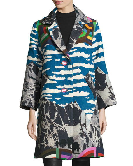 Ski Mountain Oversized Caban Coat, Blue/Multi