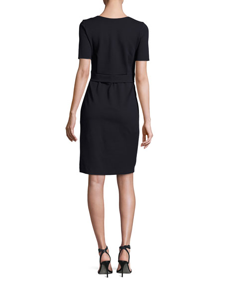 Milano Jersey Belted Short-Sleeve Dress, Midnight
