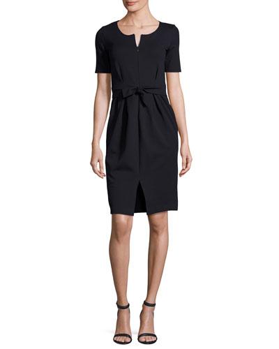 Milano Jersey Belted Short-Sleeve Dress, Midnight