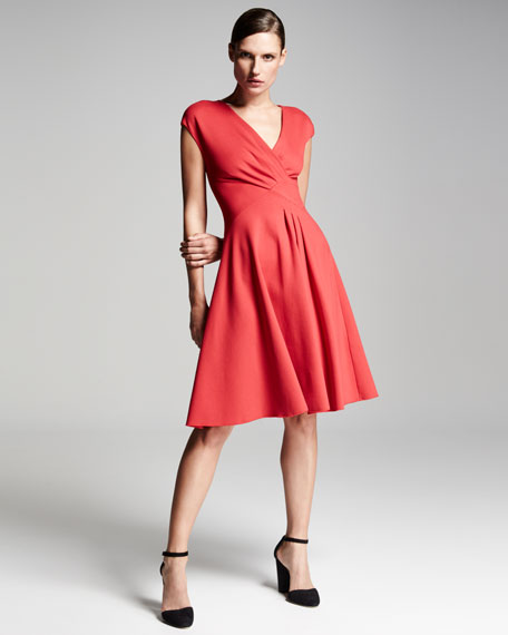 Milano Jersey V-Neck Dress, Red