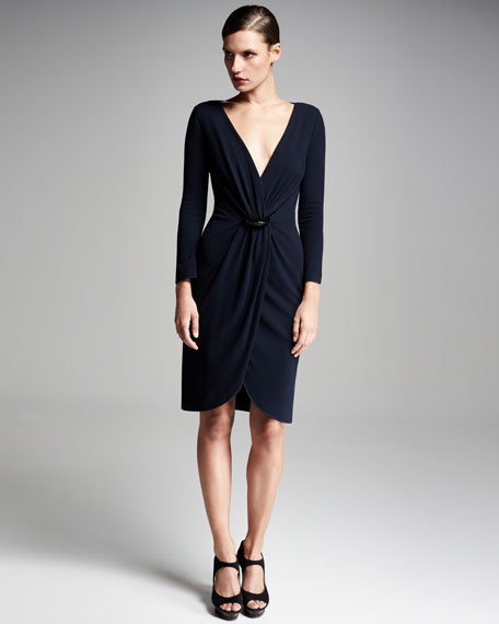 Pebbled Jersey Long-Sleeve Dress, Midnight