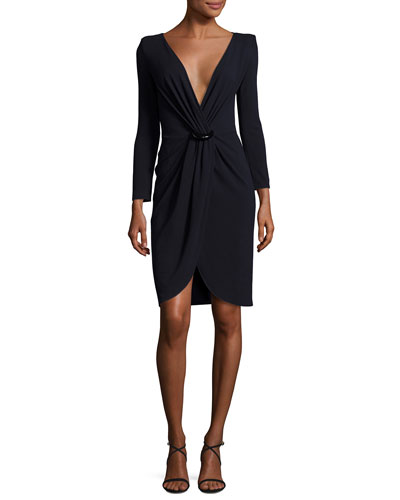 Pebbled Jersey Long-Sleeve Dress, Midnight