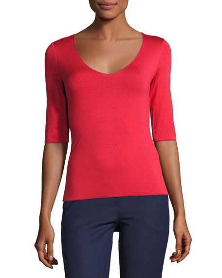 Armani Collezioni Scoop-Neck Half-Sleeve Tee, Red