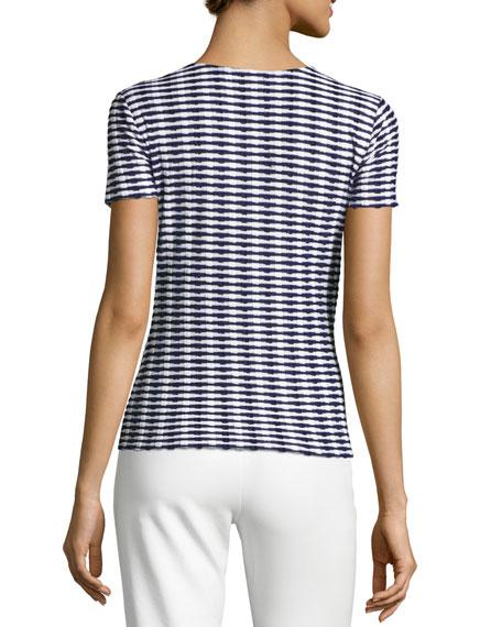 Striped Jacquard Short-Sleeve Sweater, Navy/White