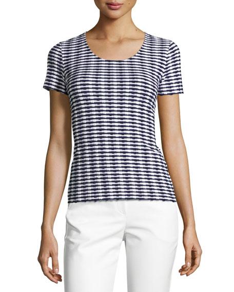 Armani Collezioni Striped Jacquard Short-Sleeve Sweater, Navy/White