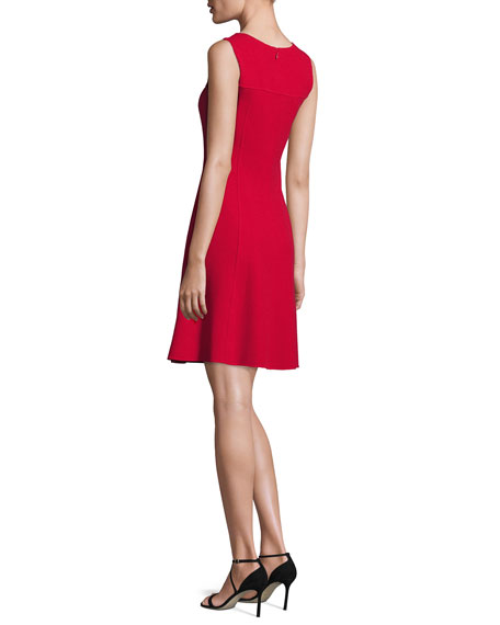 Sleeveless Double-Wool Crepe Dress, Red
