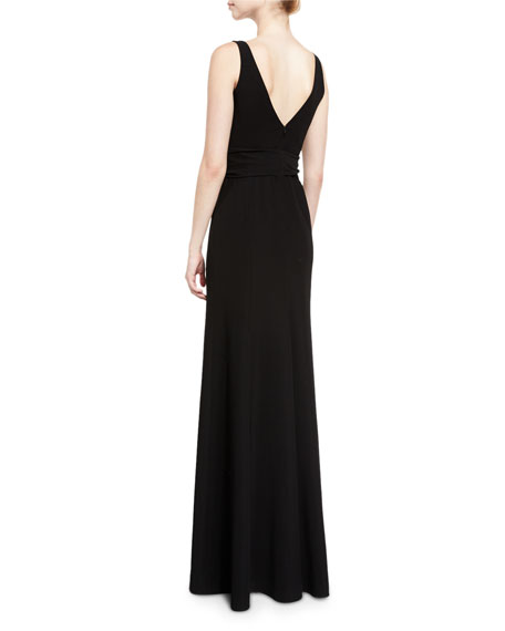 Techno Cady V-Neck Sleeveless Gown, Black