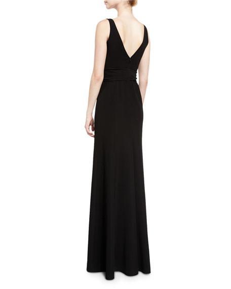 Techno Cady V-Neck Sleeveless Gown, Black