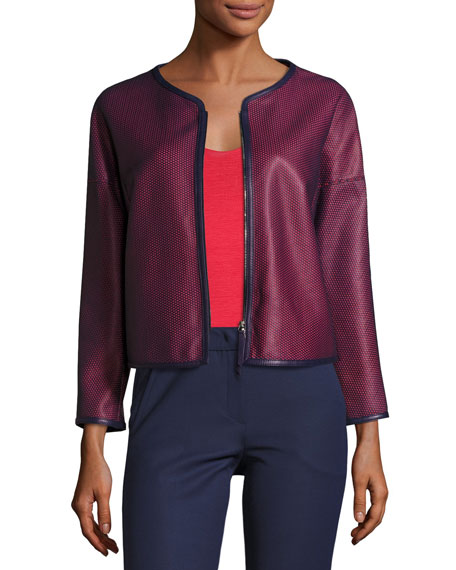 Perforated Leather Zip-Front Jacket, Navy/Red