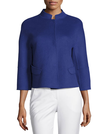 Double-Faced Wool 3/4-Sleeve Jacket, Blue Violet