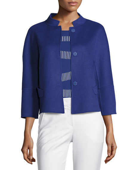 Armani Collezioni Double-Faced Wool 3/4-Sleeve Jacket, Blue