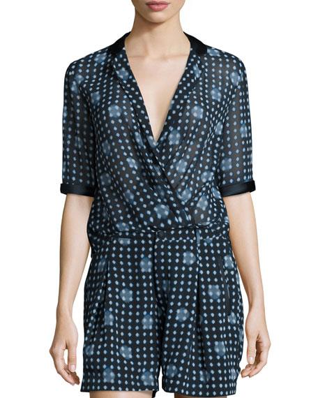 Armani Collezioni Dot-Print Half-Sleeve Blouse, Navy/Multi