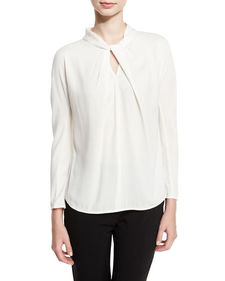 Charmeuse Twist-Neck Blouse, Ivory