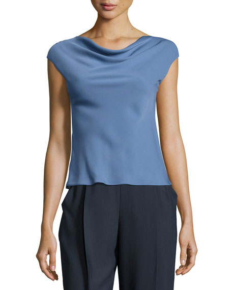 Armani Collezioni Charmeuse Cowl-Neck Cap-Sleeve Blouse, Medium