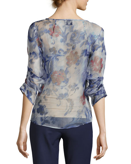 Floral Organza 3/4-Sleeve Blouse, Etched Floral